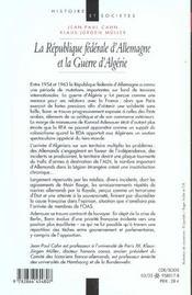 La republique federale d'allemagne et la guerre d'algerie 1954-1962 - 4ème de couverture - Format classique