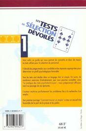 Tests Selection Devoiles - 4ème de couverture - Format classique