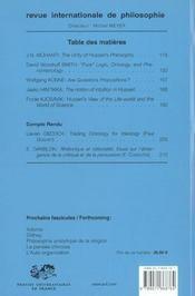 Revue Internationale De Philosophie N.224 ; Husserl - 4ème de couverture - Format classique