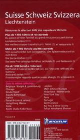 GUIDE ROUGE ; Suisse ; hotels & restaurants (édition 2012) - 4ème de couverture - Format classique