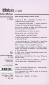 Octave Mirbeau, romancier, dramature et critique - 4ème de couverture - Format classique