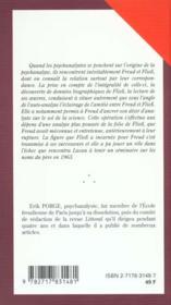 Freud Fliess ; Mythe Et Chimere De L'Autoanalyse - 4ème de couverture - Format classique