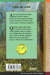 L'oeil du lynx - 4ème de couverture - Format classique