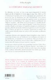 La veritable marlene dietrich - 4ème de couverture - Format classique
