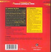 Essentiel des finances publiques 2006 7 ed. (l') (7e édition) - 4ème de couverture - Format classique