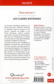 Les classes moyennes - 4ème de couverture - Format classique