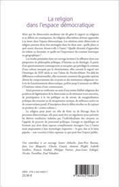 Religion dans l'espace démocratique - 4ème de couverture - Format classique