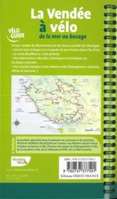 La Vendée à vélo ; de la mer au Bocage - 4ème de couverture - Format classique