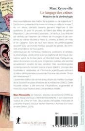 Le langage des crânes ; histoire de la phrénologie - 4ème de couverture - Format classique