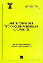 Applications des techniques formelles aulogiciel arago 20 - Couverture - Format classique