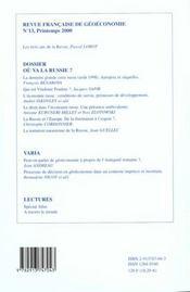 Revue Francaise De Geoeconomie N.13 ; Ou Va La Russie - 4ème de couverture - Format classique