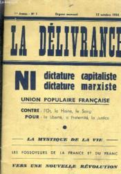 La Delivrance 1er Annee N1 - 15 Octobre 1936. - Couverture - Format classique