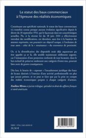 Le statut des baux commerciaux à l'épreuve des réalités économiques - 4ème de couverture - Format classique