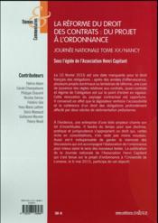 La réforme du droit des contrats ; appréciation critique - 4ème de couverture - Format classique