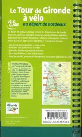 Le tour de Gironde à vélo au départ de Bordeaux - 4ème de couverture - Format classique