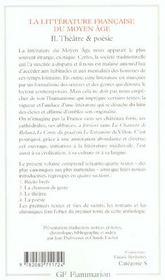 La littérature du moyen âge t.2 ; théâtre et poésie - 4ème de couverture - Format classique