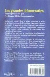 Les grandes democraties ; constitutions des etats-unis, de l'allemagne, de l'espagne et de l'italie - 4ème de couverture - Format classique