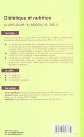 Dietetique et nutrition (6e édition) - 4ème de couverture - Format classique
