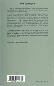 Une Vie De Juif ; L'Odyssee D'Un Medecin Juif En Pologne. 1939-1945 - 4ème de couverture - Format classique