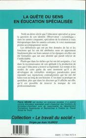 Quete Du Sens (Negre) En Education Specialisee. De L'O - 4ème de couverture - Format classique