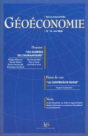 Geoeconomie N.14 Ete 2000 ; Action Humanitaire Et Mondialisation - Intérieur - Format classique