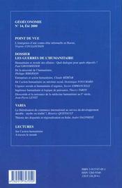 Geoeconomie N.14 Ete 2000 ; Action Humanitaire Et Mondialisation - 4ème de couverture - Format classique