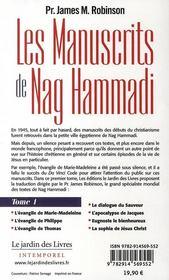 Les manuscrits de Nag Hammadi t.1 - 4ème de couverture - Format classique