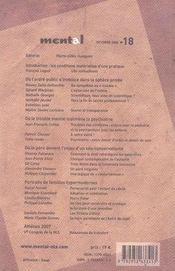 REVUE MENTAL N.18 ; psychanalyse et ordre public - 4ème de couverture - Format classique