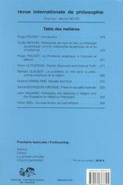 Revue Internationale De Philosophie N.225 ; Philosophie Analytique De La Religion (édition 2003) - 4ème de couverture - Format classique