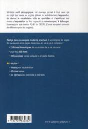 Vocabulaire Thematique En Fiches Anglais-Francais 25 Themes +De 2000 Mots 188 Exercices A2-B1 - 4ème de couverture - Format classique