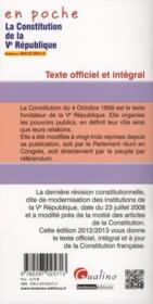 La constitution de la V République (4e édition) - 4ème de couverture - Format classique