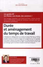 Durée et aménagement du temps de travail (7e édition) - 4ème de couverture - Format classique