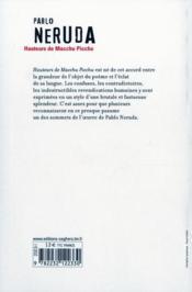 Hauteurs de macchu picchu - ne - edition bilingue espagnol/francais - 4ème de couverture - Format classique
