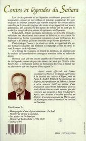 Contes et légendes du sahara - 4ème de couverture - Format classique
