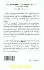 Les Microsocietes De La Litterature Pour La Jeunesse ; L'Exemple De Fantomette - 4ème de couverture - Format classique