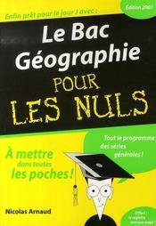Le Bac Geographie Pour Les Nuls (Edition 2007) - Intérieur - Format classique