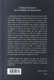 À Paris pendant les guerres de religion - 4ème de couverture - Format classique