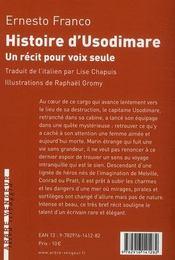 Histoire d'Usodimare ; récit pour voix seule - 4ème de couverture - Format classique