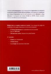 Vocabulaire thématique en fiches ; anglais-francais ; A1-A2 - 4ème de couverture - Format classique