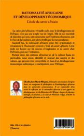 Rationalité africaine et développement économique ; l'école du savoir africain - 4ème de couverture - Format classique