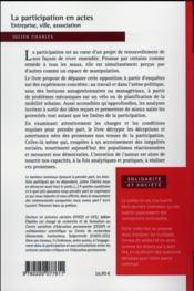 Entreprises, quartiers et associations ; bienfaits et méfaits de la participation - 4ème de couverture - Format classique