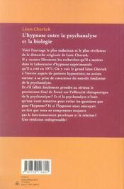 L'hypnose entre la psychanalyse et la biologie ; le non-savoir des psy - 4ème de couverture - Format classique