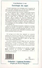Contributions A Une Sociologie Du Sujet - 4ème de couverture - Format classique
