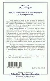 Festival De Musique ; Analyse Sociologique De La Programmation Et De Lorganisation - 4ème de couverture - Format classique