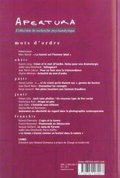 Apertura T.18 ; Mot D'Ordre - 4ème de couverture - Format classique