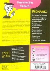 Le Bac Histoire Pour Les Nuls (Edition 2007) - 4ème de couverture - Format classique