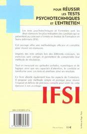 Ifsi Pour Reussir Tests Psychotechniques Et L'Entretien - 4ème de couverture - Format classique
