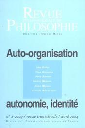 Revue Internationale De Philosophie N.228 ; Auto-Organisation, Autonomie, Identité (édition 2004) - Intérieur - Format classique