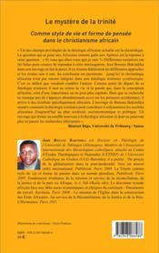 Le mystère de la trinité ; comme style de vie et forme de pensée dans le christianisme africain - 4ème de couverture - Format classique