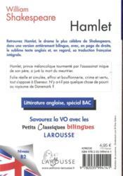 Petits classiques bilingues ; Hamlet - 4ème de couverture - Format classique
